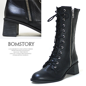 3649 side zipper deco walker boots