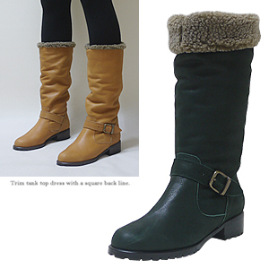 3693 soft leather fur boots